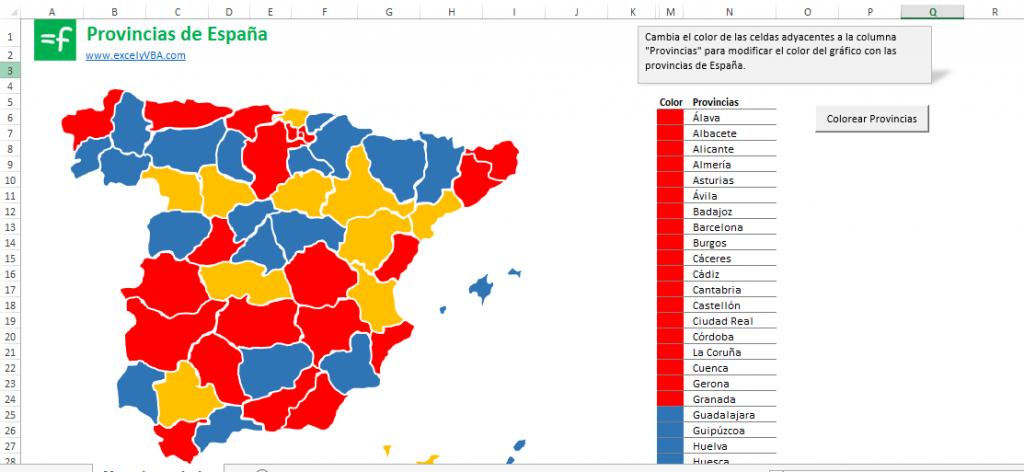 provincias de España en Excel