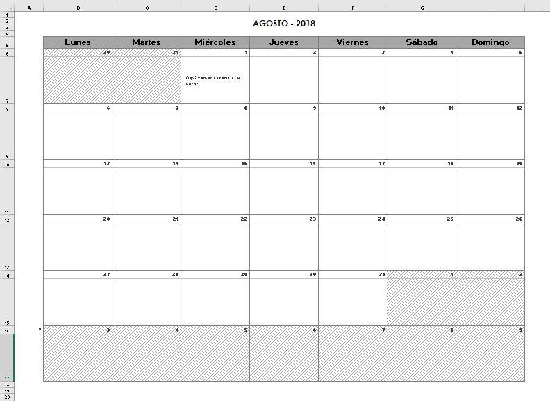 Calendario Con Excel.Calendario Excel 2018 Excel Y Vba