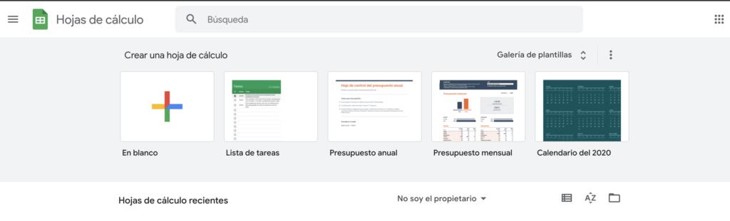 Pantalla de inicio de Google Sheets hojas de cálculo de Google.